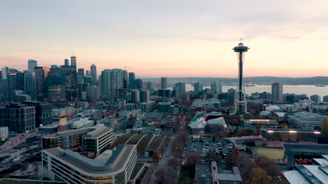Aerial shot of Seattle Skyline Drone shot of downtown Seattle, Washington at sunset. seattle stock videos & royalty-free footage