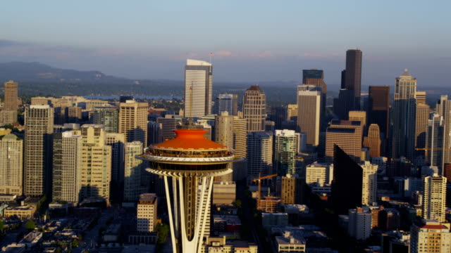 Aerial shot of Seattle Skyline video