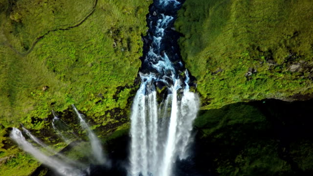 Aerial shot of Seljalandsfoss Waterfall in Iceland video