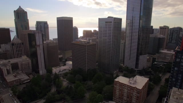 Aerial Shot of Skyscraper Buildings in Seattle Financial District video