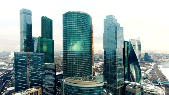 aerial shot of skyscrapers of moscow international business centre. - quadcopter filmów i materiałów b-roll