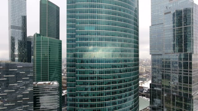 aerial shot of skyscrapers of moscow international business centre. - international architecture stock videos & royalty-free footage