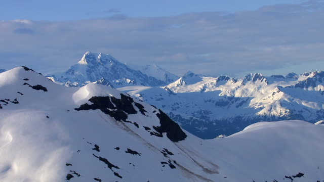 Aerial shot of snow covered mountains, Alaska