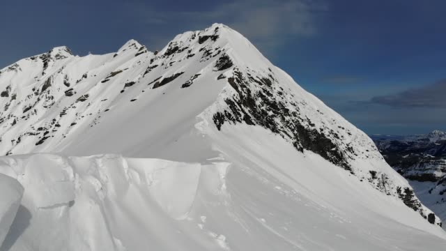HD Aerial shot of snow covered mountains in Avoriaz, France. video