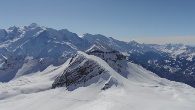 Aerial Shot of Snow covered rocks of Mont Blanc