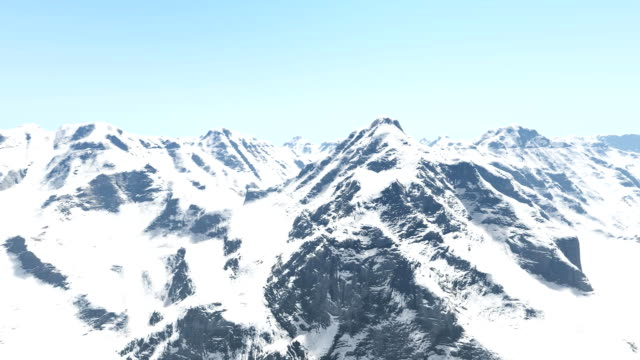 Aerial shot of snowy mountains and clear sky video