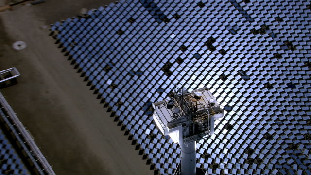Aerial shot of solar mirrors at power plant video