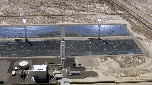 Aerial shot of solar power plant video