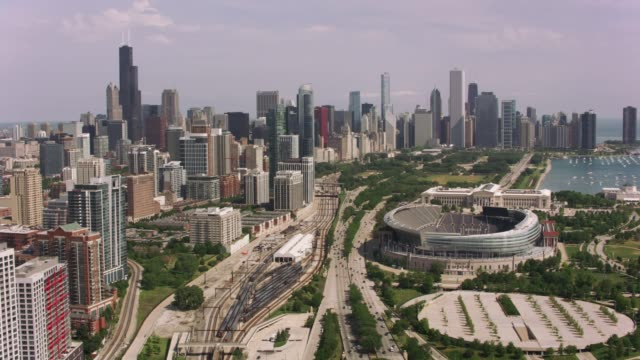 Aerial shot of Soldier Field and downtown Chicago.