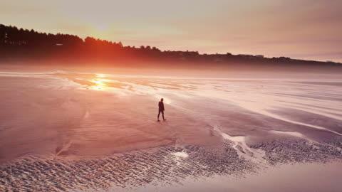 vidéos et rushes de photo aérienne de femme solitaire sur la plage de distance sur la côte de washington - paysage