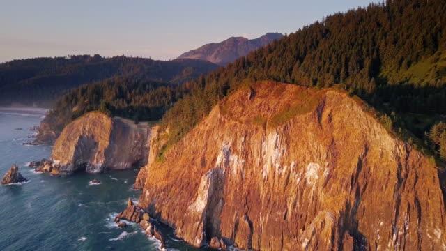4K Aerial Shot of Spectacular Cliffs on Northern Oregon Coast video