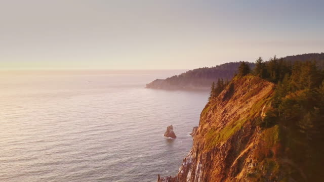 4K Aerial Shot of Spectacular Cliffs on Northern Oregon Coast