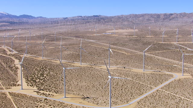 Aerial shot of stationary wind turbines video