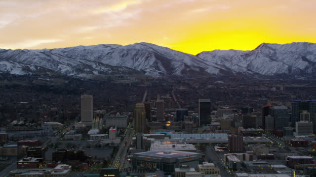 Aerial shot of sunrise over Salt Lake City Salt Lake City, Utah circa-2017, Aerial shot of sunrise over Salt Lake City utah stock videos & royalty-free footage