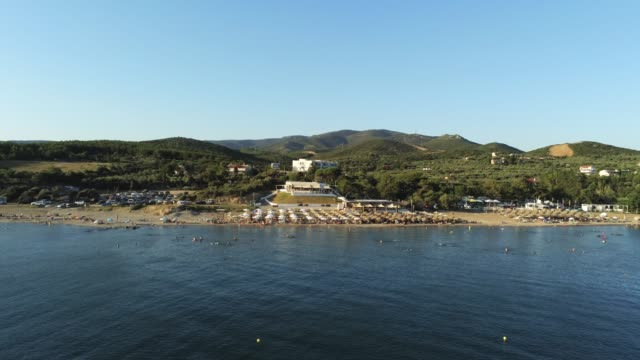 Aerial shot of the Agia Paraskevi Beach of Alexandroupolis at summer video