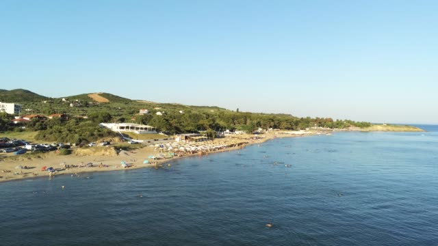 Aerial shot of the Agia Paraskevi Beach of Alexandroupolis at summer in Greece video