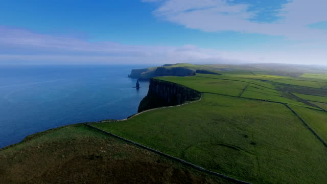 Aerial shot of the beautiful sea and the Cliffs of Moher video