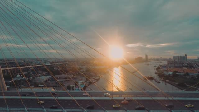Aerial shot of The Bhumibol bridge video
