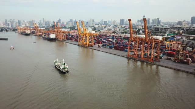 Aerial Shot of the Cargo Ship Arriving to port