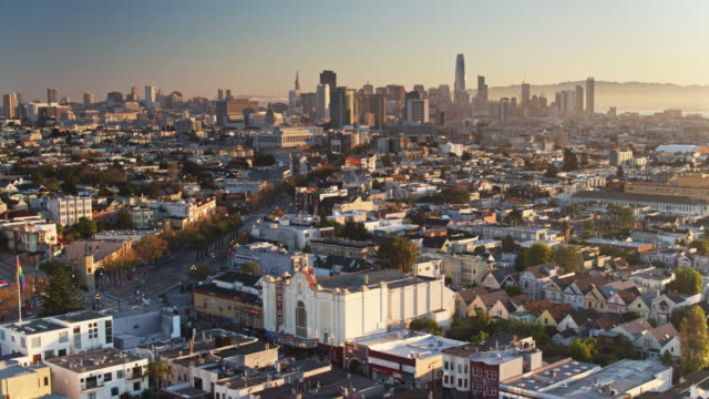 Aerial Shot of The Castro with Market Street Heading Towards the Financial District, San Francisco video