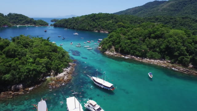 Aerial shot of the coast of an island paradise in Brazil video