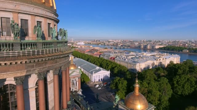 Aerial shot of the detail of Saint Isaac's Cathedral in the St. Petersburg, Russia on a cloudy evening Aerial shot of the detail of Saint Isaac's Cathedral in the St. Petersburg, Russia on a cloudy evening treedeo saint petersburg stock videos & royalty-free footage