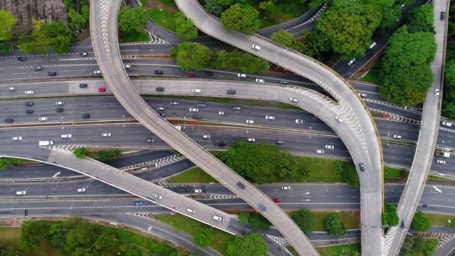 vídeos y material grabado en eventos de stock de toma aérea de las autopistas en sao paulo, brasil - avenida