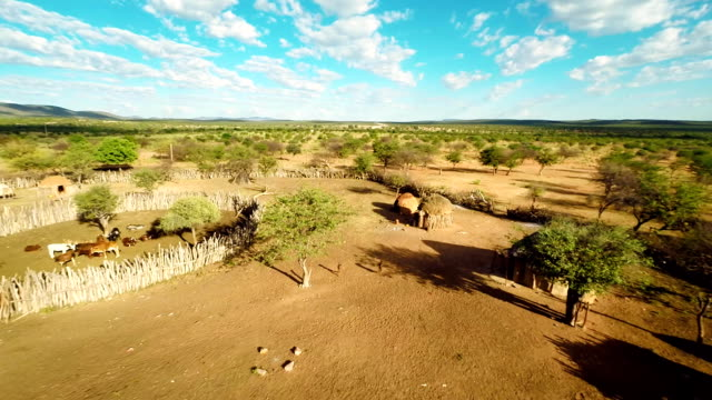 HELI Aerial Shot Of The Himba Settlement video