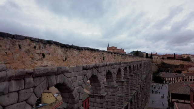 Aerial shot of the historic city of Segovia, Spain. Drone shot of Segovia. aqueduct stock videos & royalty-free footage