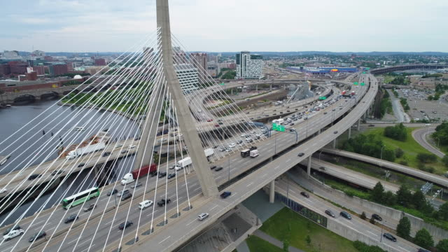 Aerial shot of the Leonard Zakim Bridge and Charles River Boston video