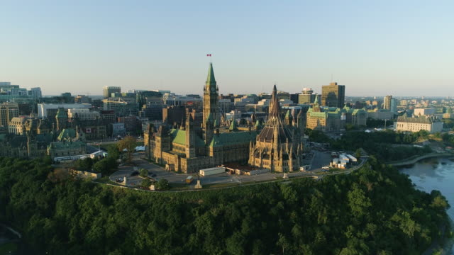 Aerial shot of the Parliament of Canada, in Ottawa