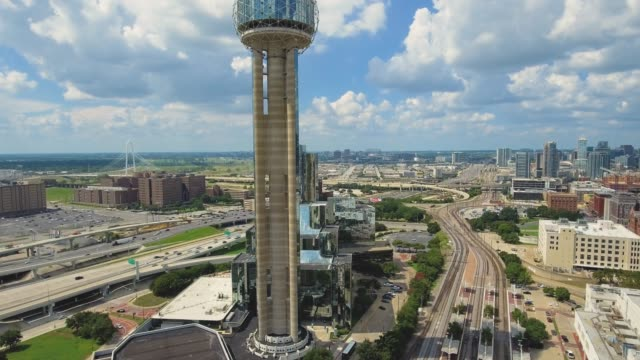 Aerial shot of the Reunion Tower in Dallas, Texas video