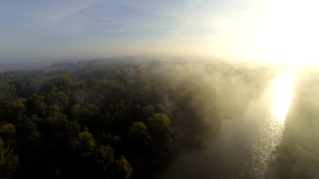 HD: Aerial Shot Of The River At Sunrise video