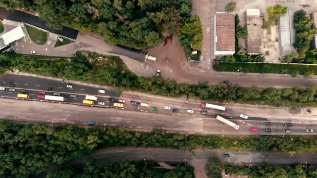 Aerial shot of the road with traffic in the Kyiv - FullHD
