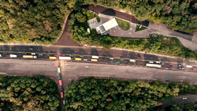 Aerial shot of the road with traffic in the Kyiv