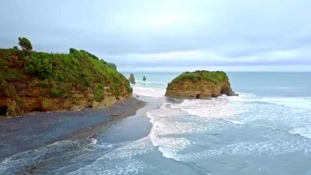 Aerial Shot of The Three Sisters and Elephant Rock, Taranaki, New Zealand. video