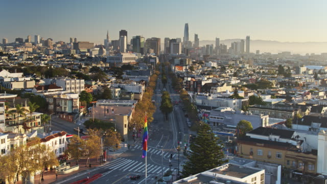 Aerial Shot of the Top of Market St in The Castro, San Francisco video