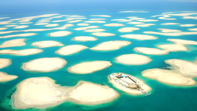Aerial shot of the World Islands, Dubai video