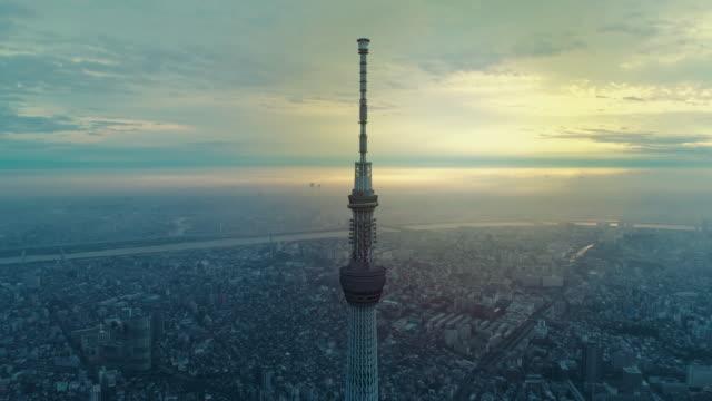 vídeos y material grabado en eventos de stock de disparo aéreo de tokio, japón - mástil