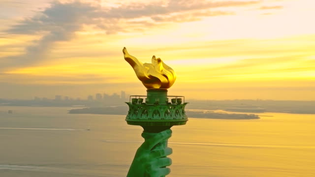 Aerial shot of Torch Statue of Liberty 4K