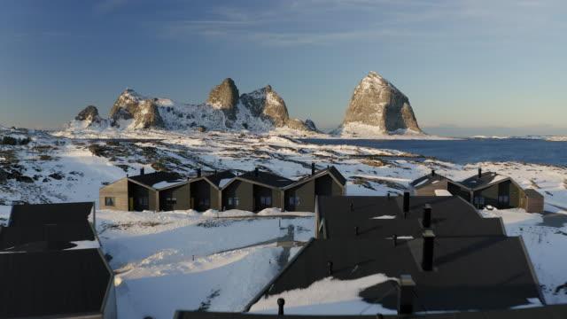 aerial shot of træna - arcipelago video stock e b–roll