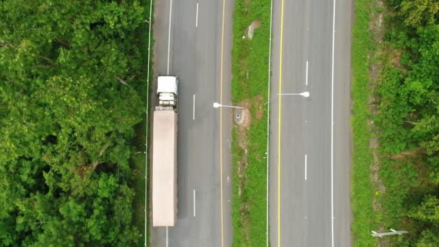 Aerial Shot of Trucks Driving video