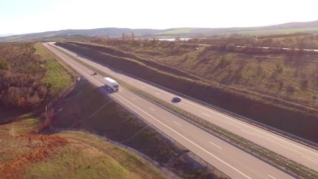 aerial shot of trucks - bułgaria filmów i materiałów b-roll