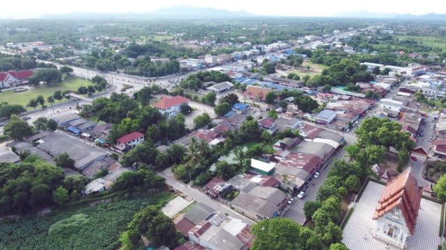 Aerial shot of upcountry village video