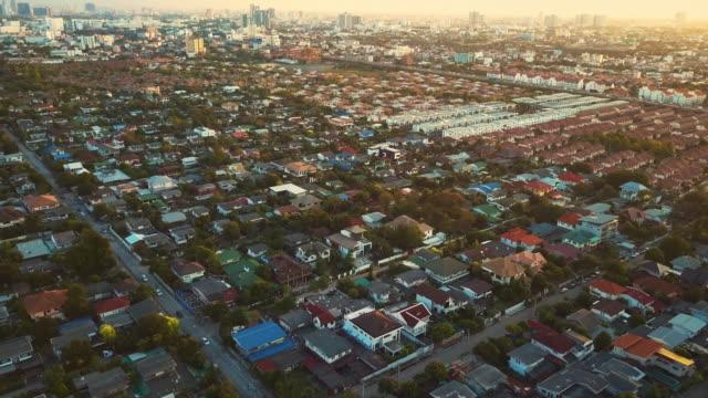 Aerial shot of Village,Sunset video