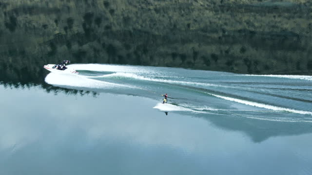 Aerial shot of wakeboard trick video