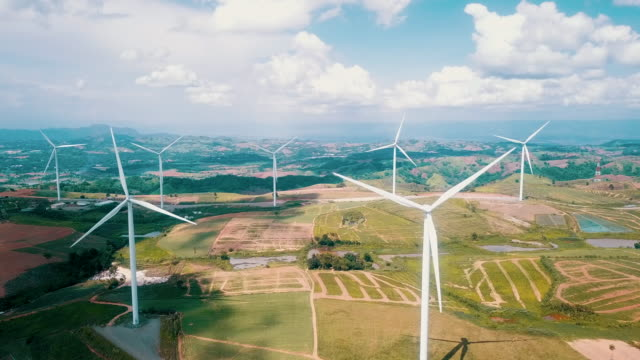 aerial shot of wind turbines - turbina a vento video stock e b–roll