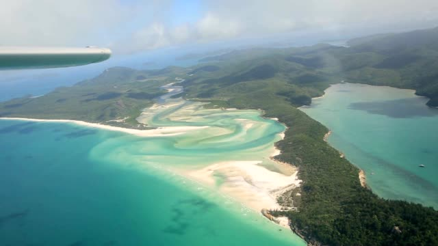 Aerial shot of withe haven beach in the Whitsundays Island video