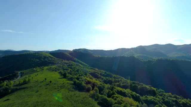 Aerial shot of woods, green hills and meadows under bright shining sun and blue sky