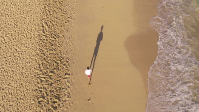 4K Aerial Shot of Young Fit Athletic Man Running on Beach video